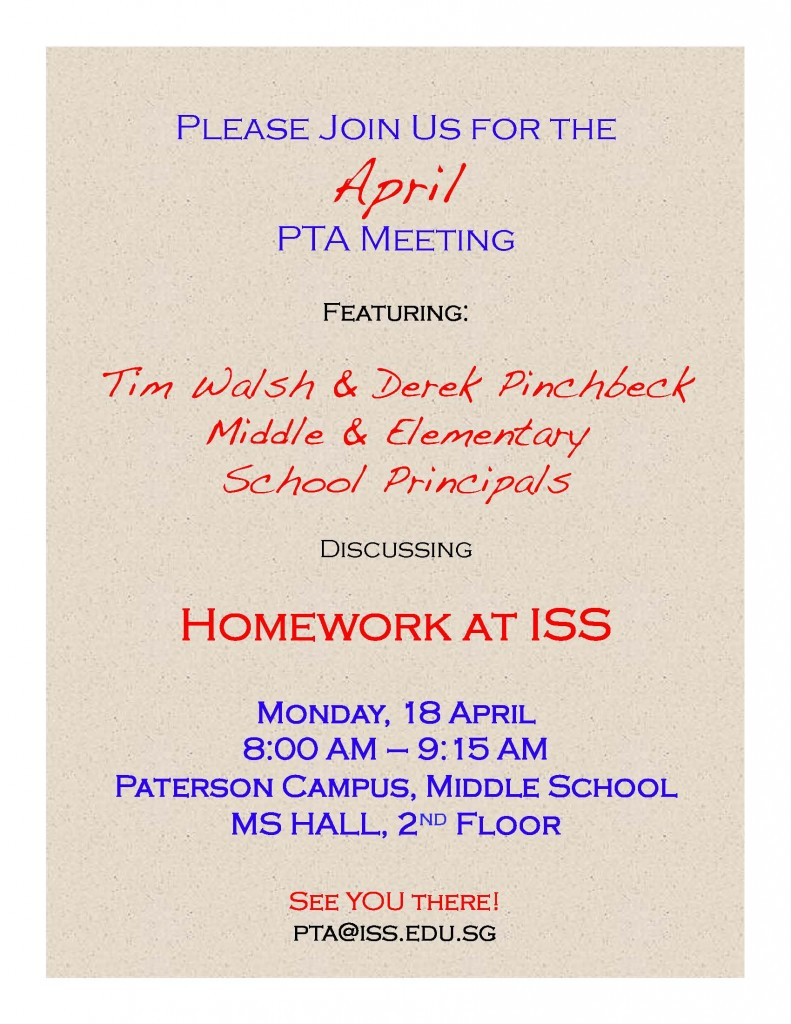 April PTA Meeting