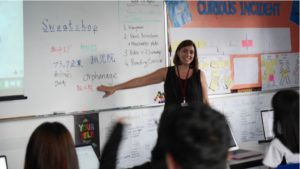 Ms Fiona Edwards teaching in one of our ESL classes